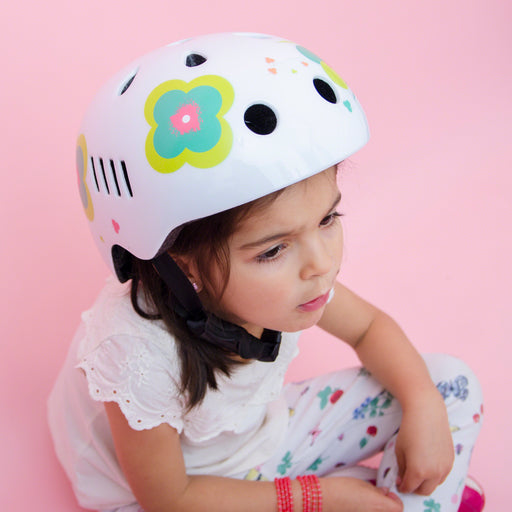 Kids bike helmet with boho chic white design