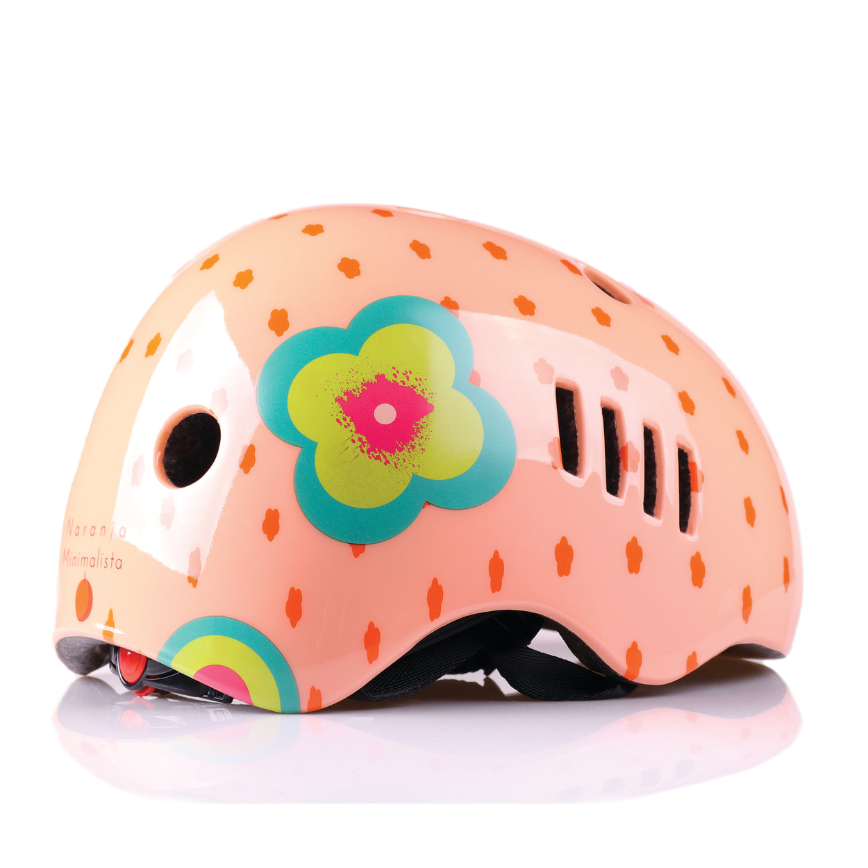 Kids bike helmet with polka dot design