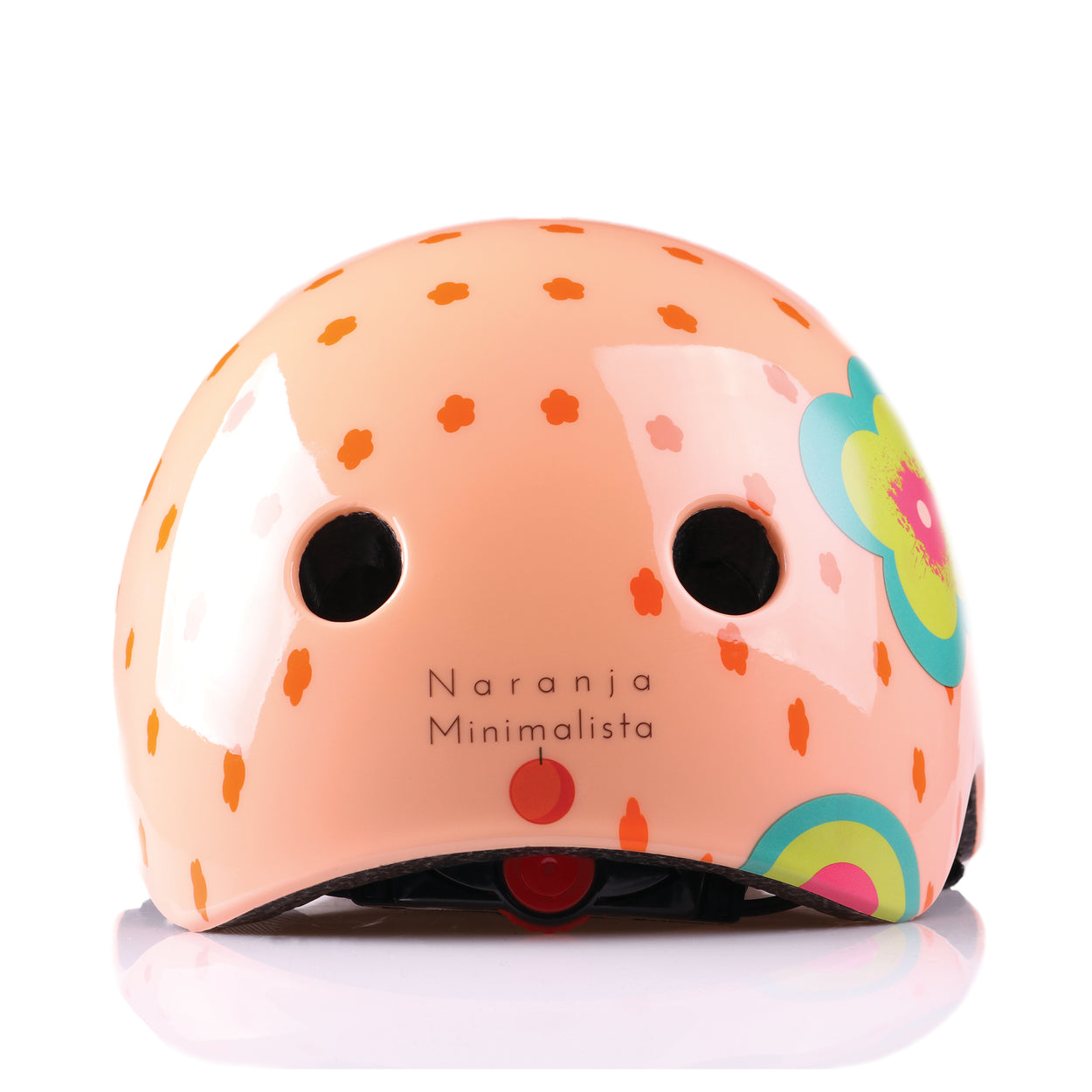 Kids bike helmet with polka dot design back view