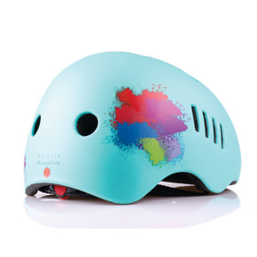 Kids bike helmet with blue punk design right view