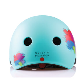 Kids bike helmet with blue punk design back view