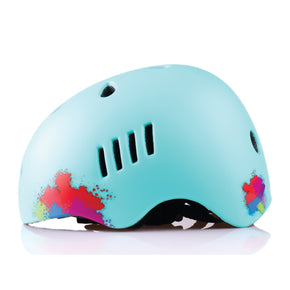 Kids bike helmet with blue punk design left view