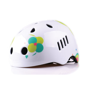 Kids bike helmet with boho chic white design front view