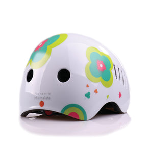 Kids bike helmet with boho chic white design lateral view