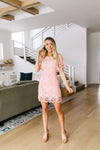 Coral Pink Lace Sheath Dress