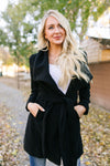 A Breath Of Paris Classic Wrap Trench Coat In Black