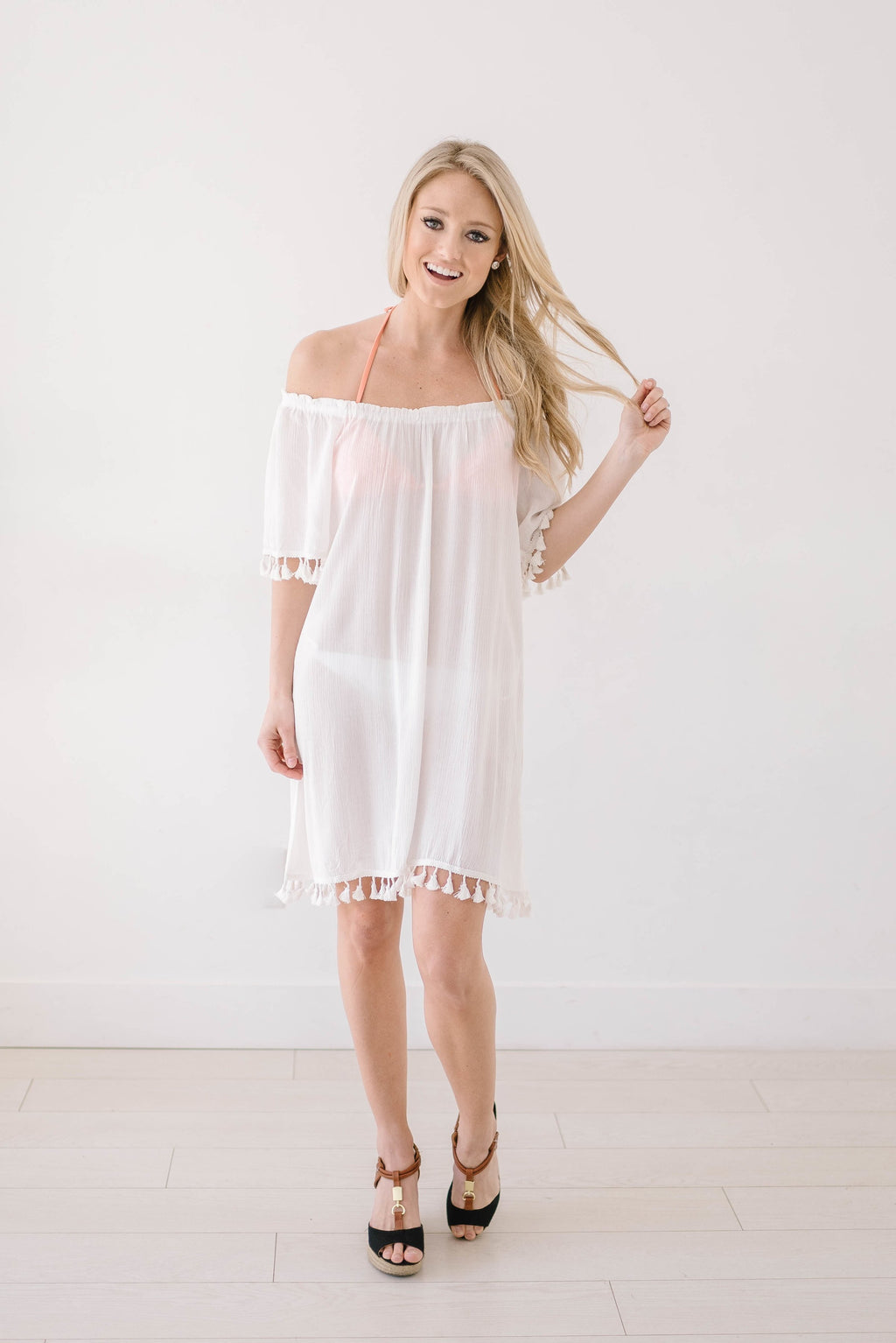 Belmar Beach Cover Up In White - Warehouse Sale