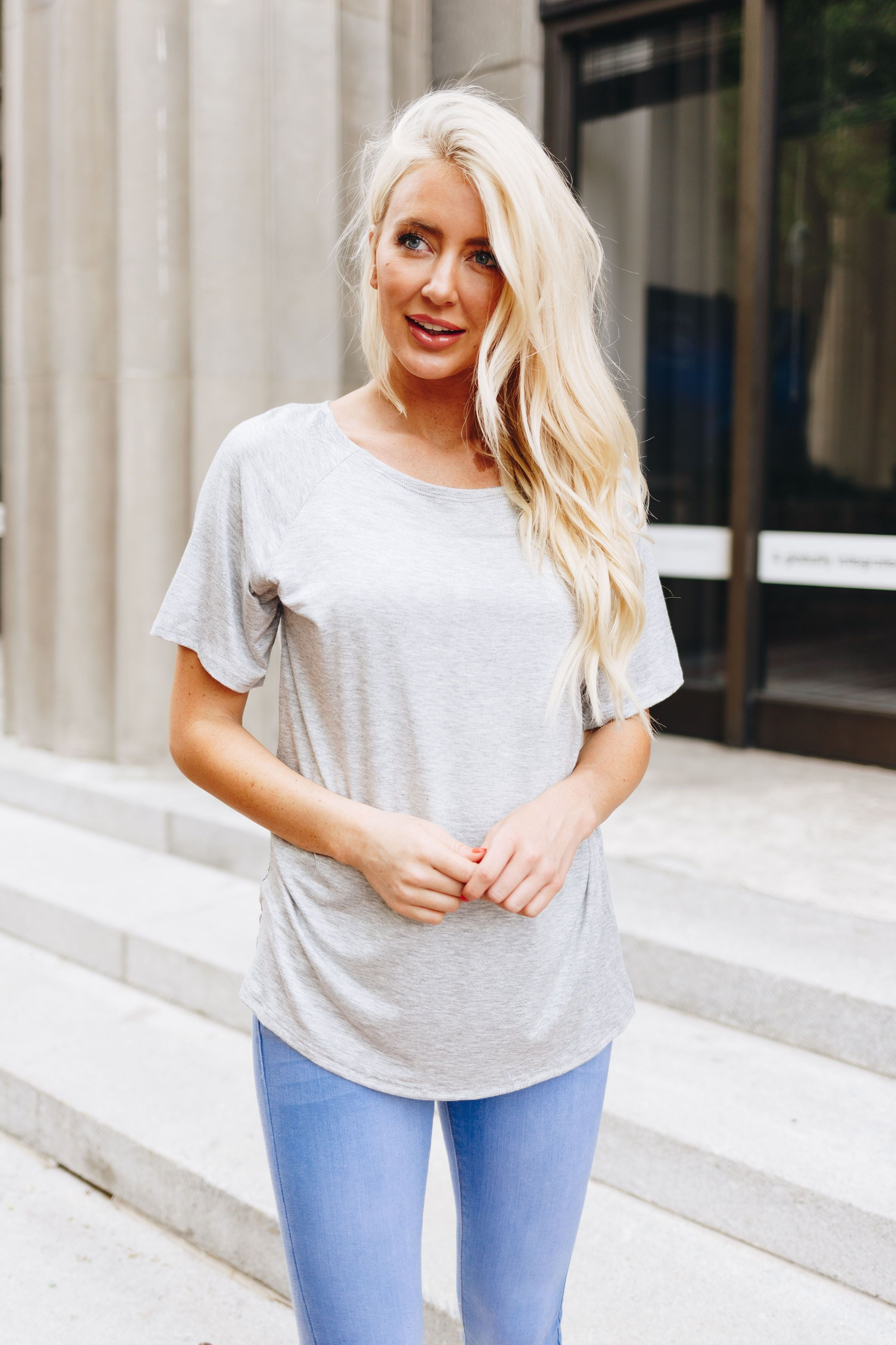 Boatneck Tee In Heather Gray