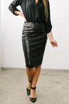 Born To Shine Sequined Pencil Skirt In Black