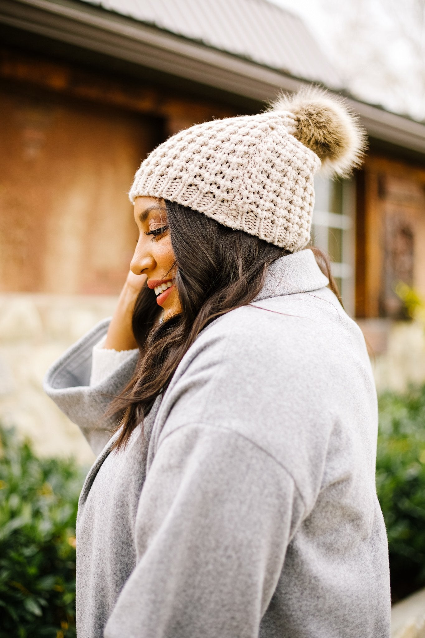 Cable Knit Beanie In Mocha
