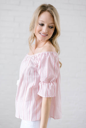 Candy Stripe Off the Shoulder in Pink