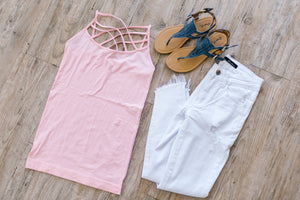 Criss Cross Cami In Dusty Pink