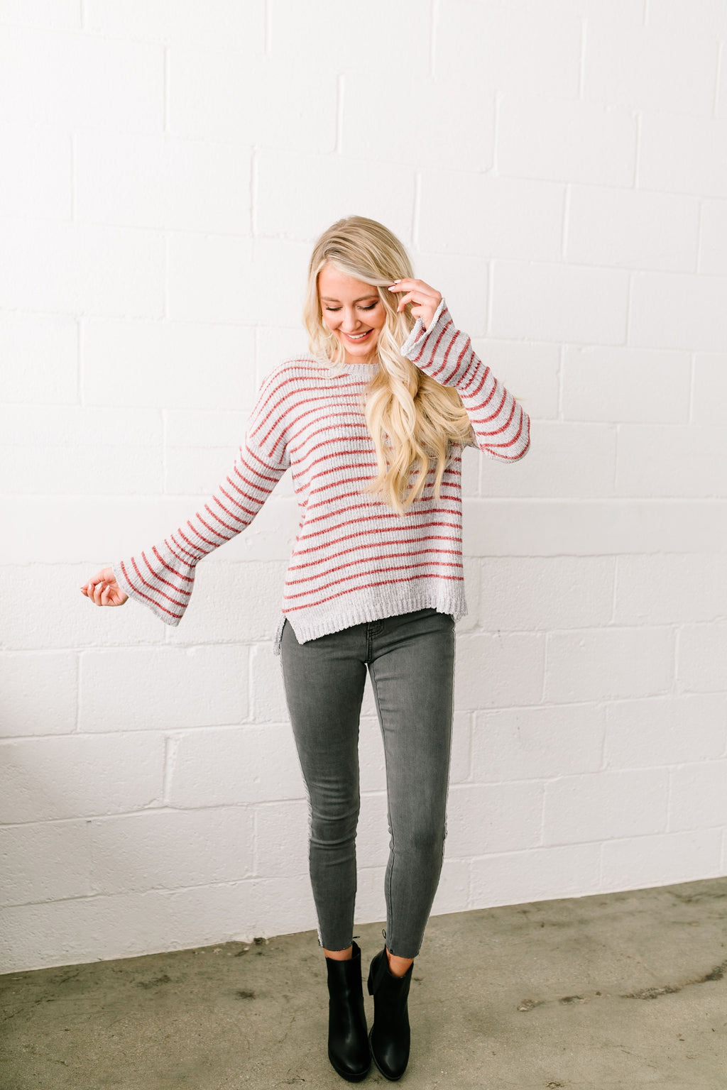 Faded Not Forgotten Striped Sweater In Silver