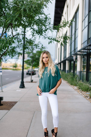 Green One Shoulder Knot Top
