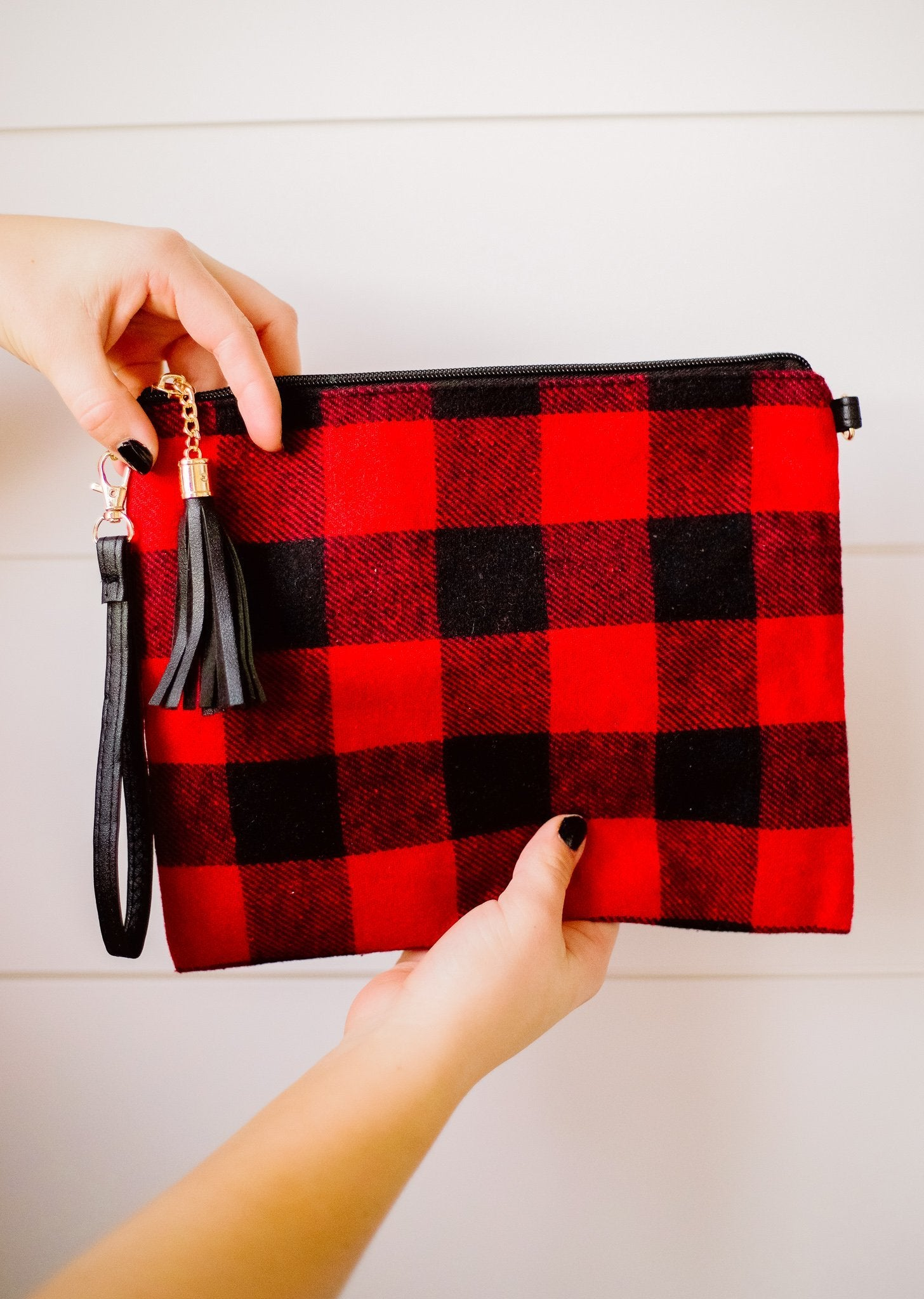 Holiday Check Crossbody Clutch