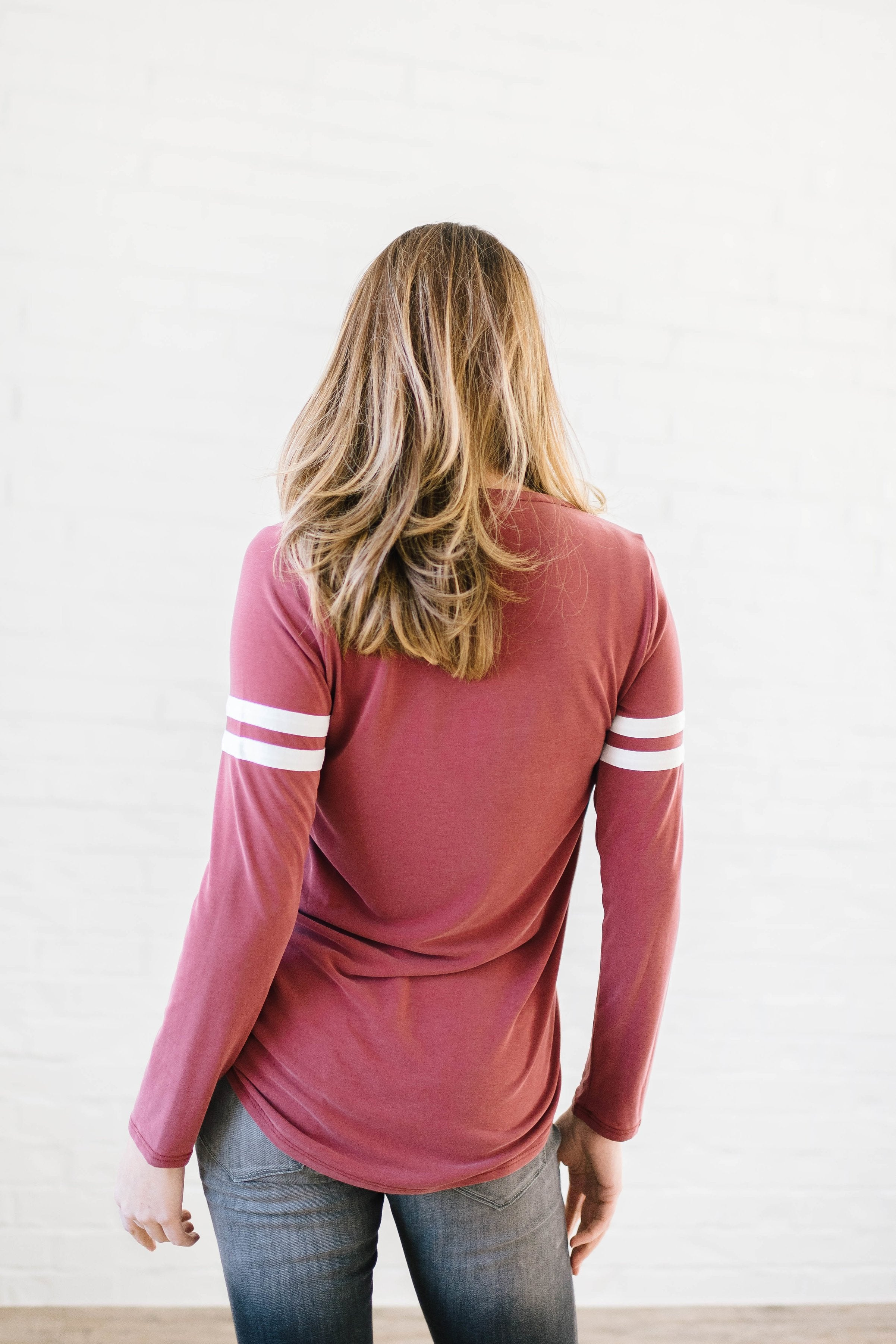 Janie Stripes Long Sleeve Tee in Red Brick