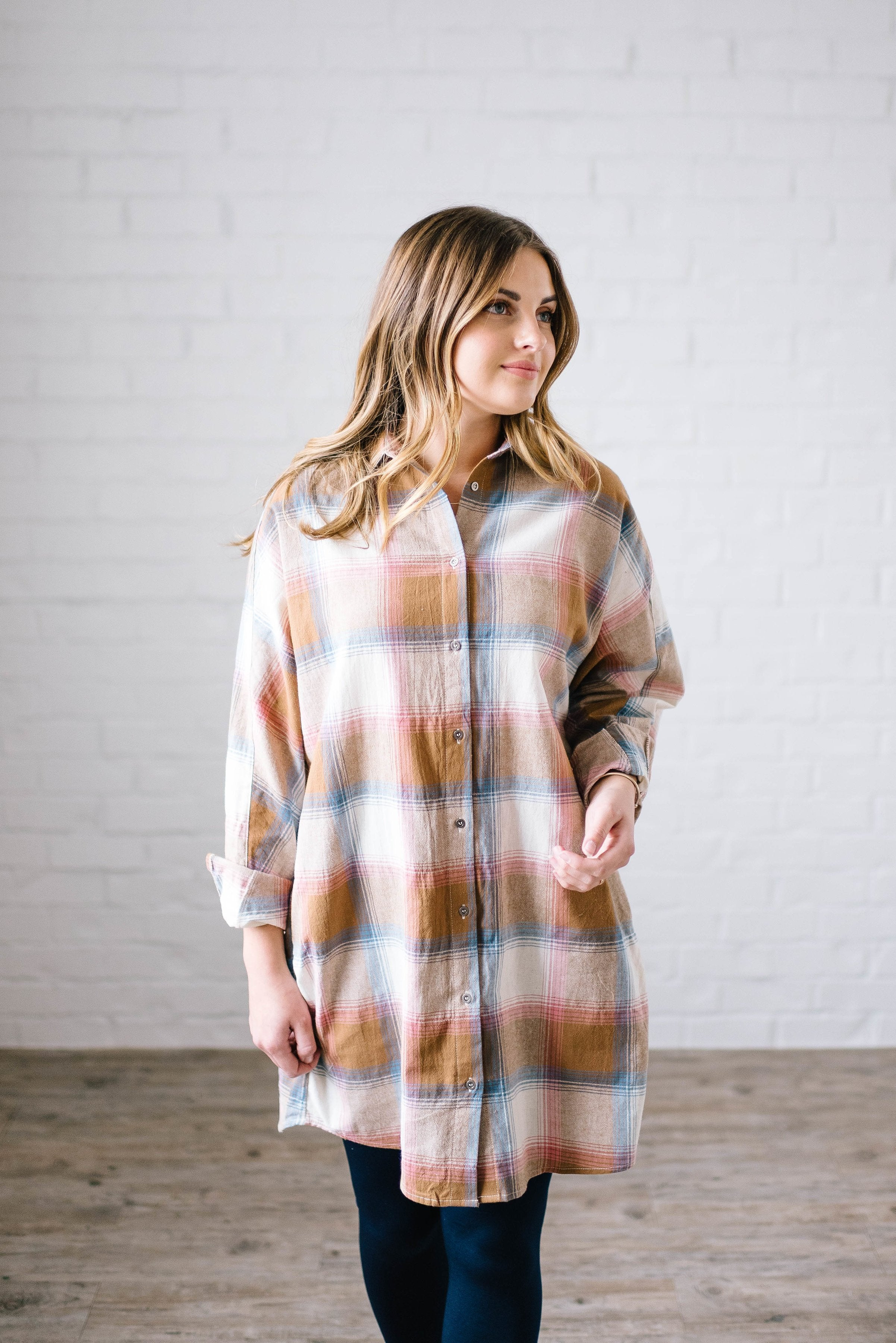Mad About Plaid Tunic in Camel