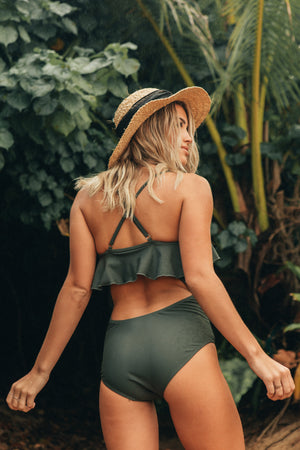 Olive Ruffle One Piece