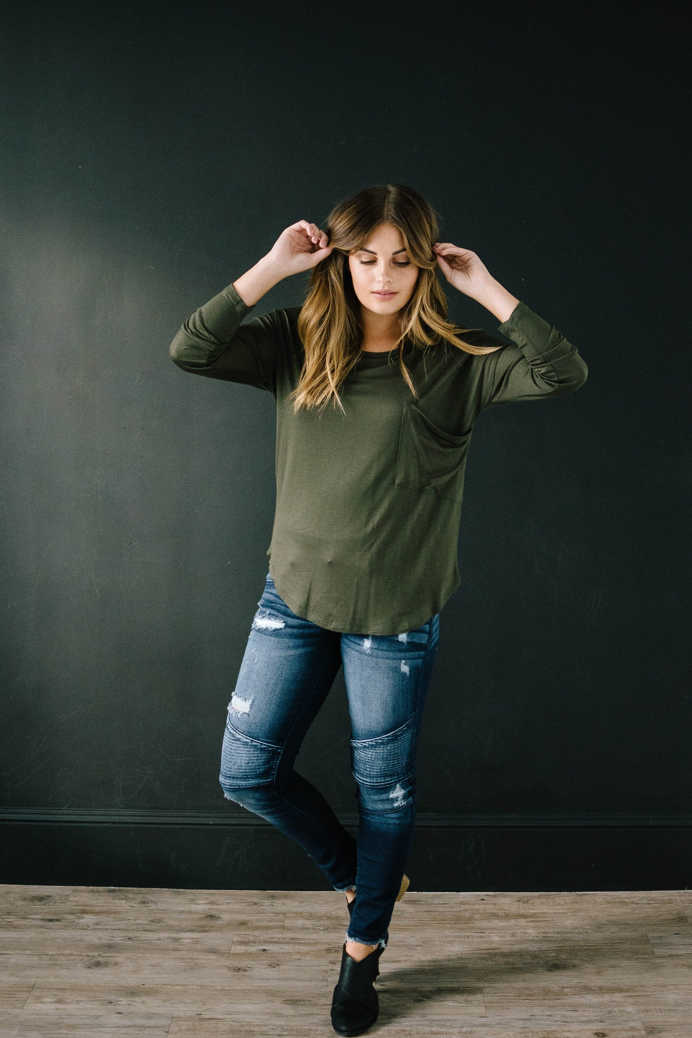 Penny Pocket Top in Olive