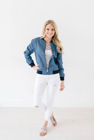 Polka Dot Chambray Bomber Jacket