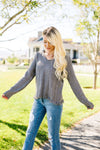 Shredded Hem Charcoal Sweater
