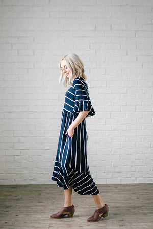 Take Me Away Striped Dress in Navy