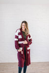 The Amelia Striped Cardi in Mulberry