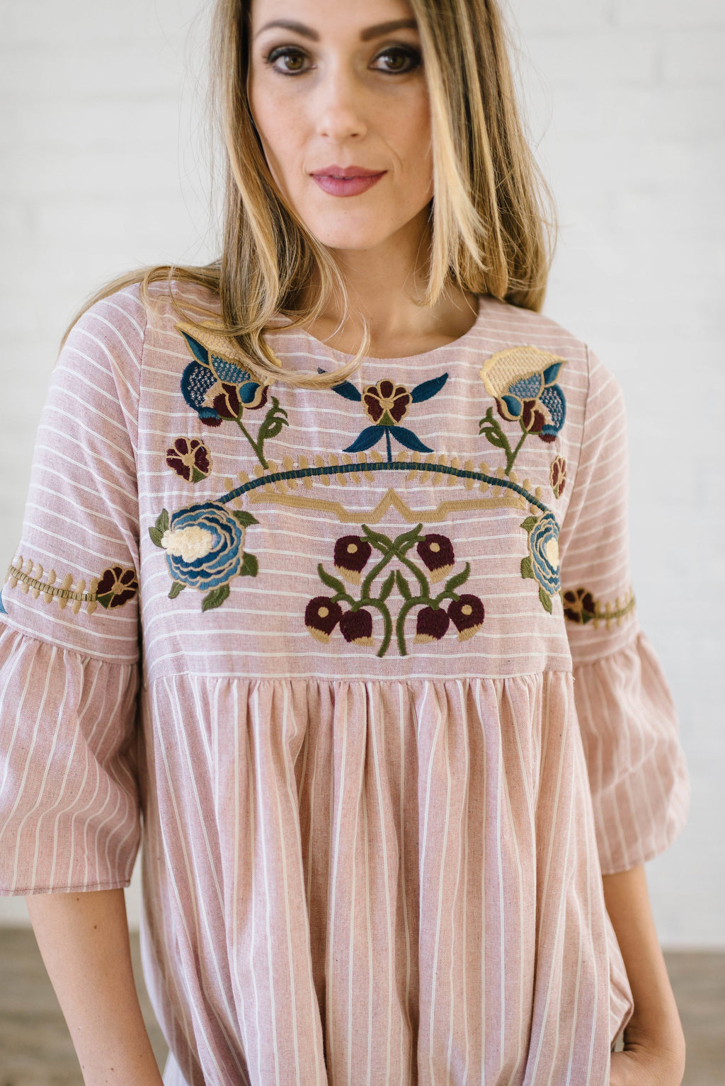 The Emerson Embroidered Dress In Light Pink - Warehouse Sale