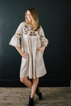 The Emerson Embroidered Dress In Linen - Warehouse Sale