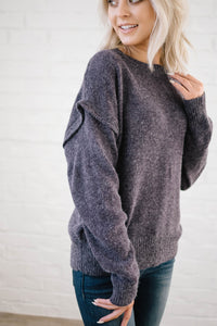 The Rosslyn Ruffle Sweater in Purple