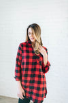 The Tristan Flannel Tunic in Red & Black