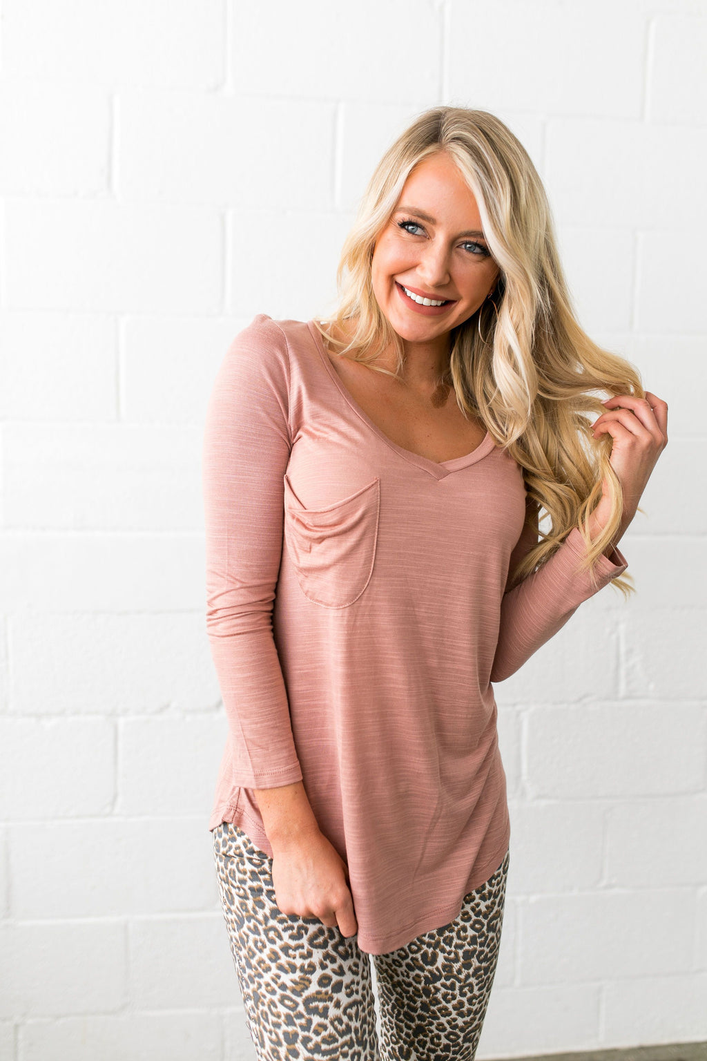 V-Neck Tee In Desert Blush