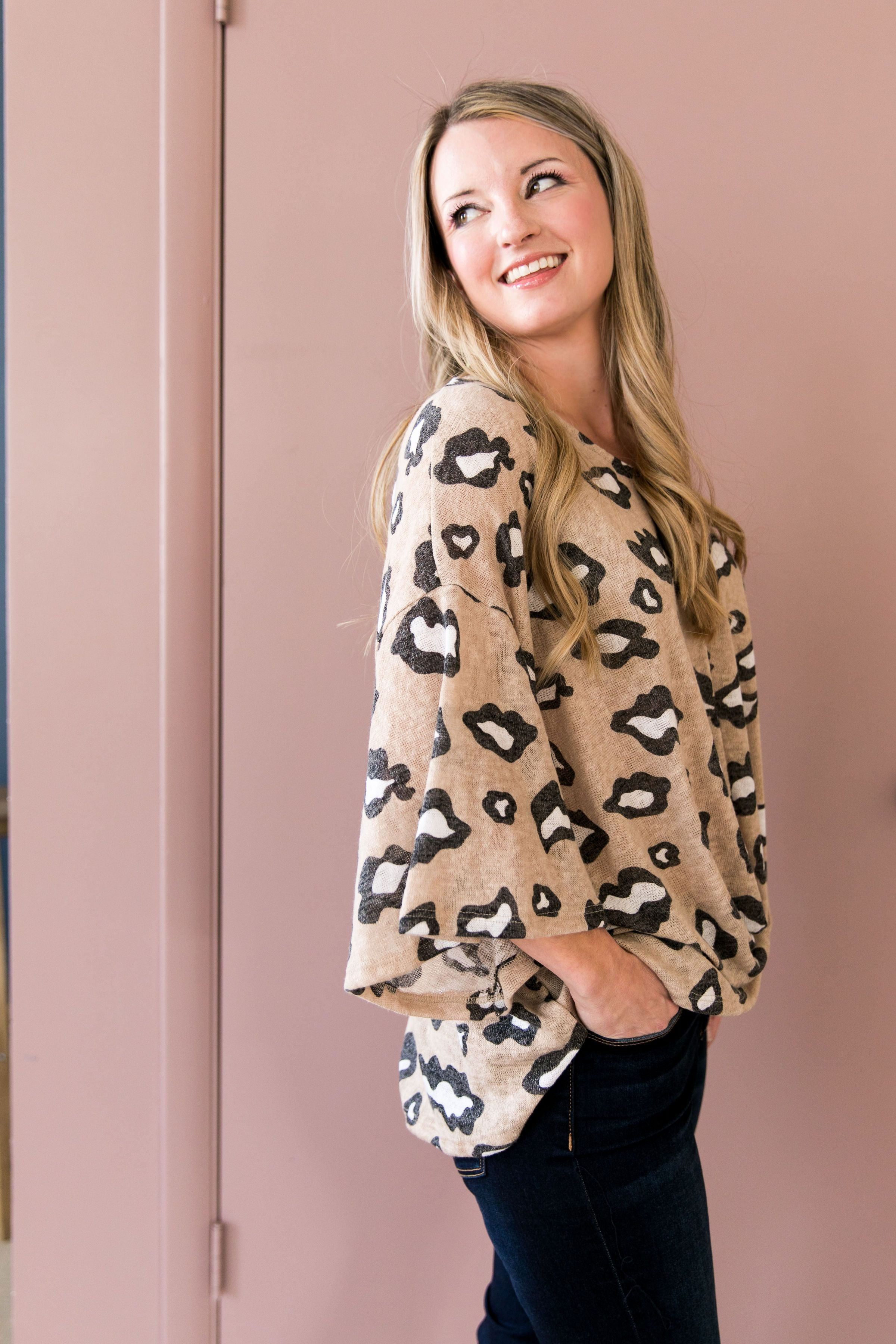 Abstract Leopard Print Top In Blush