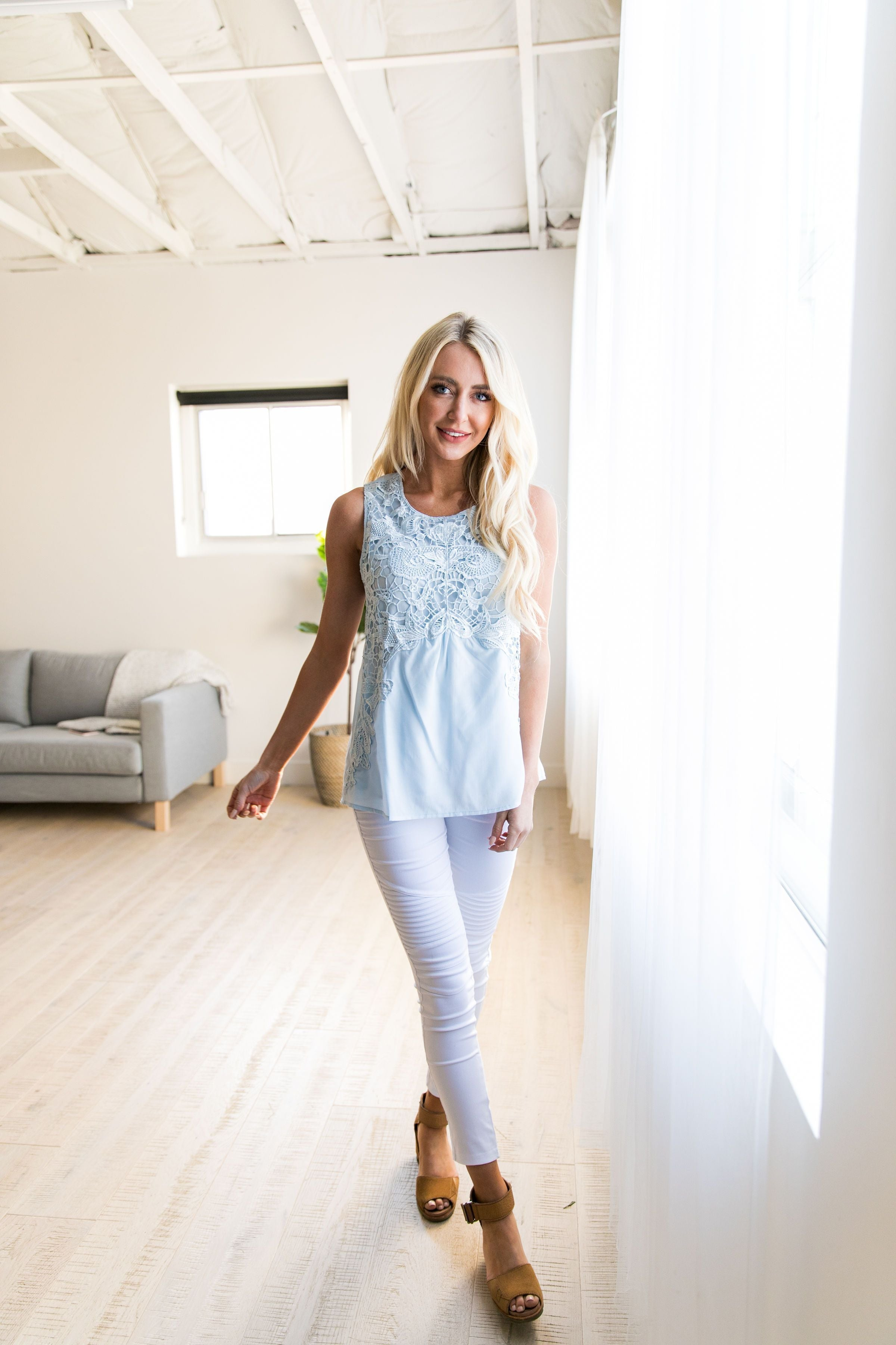 Baby Blue Lace Sleeveless Blouse - ALL SALES FINAL