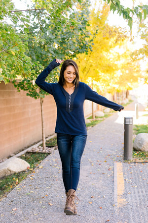 Accentuate The Positive Top In Navy - ALL SALES FINAL