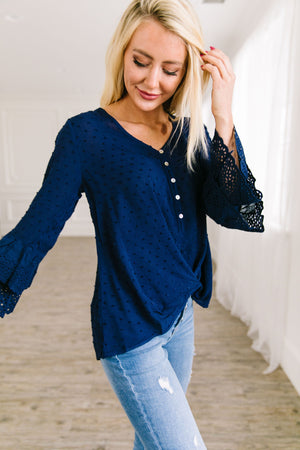 Bell Sleeve Swiss Dot Blouse