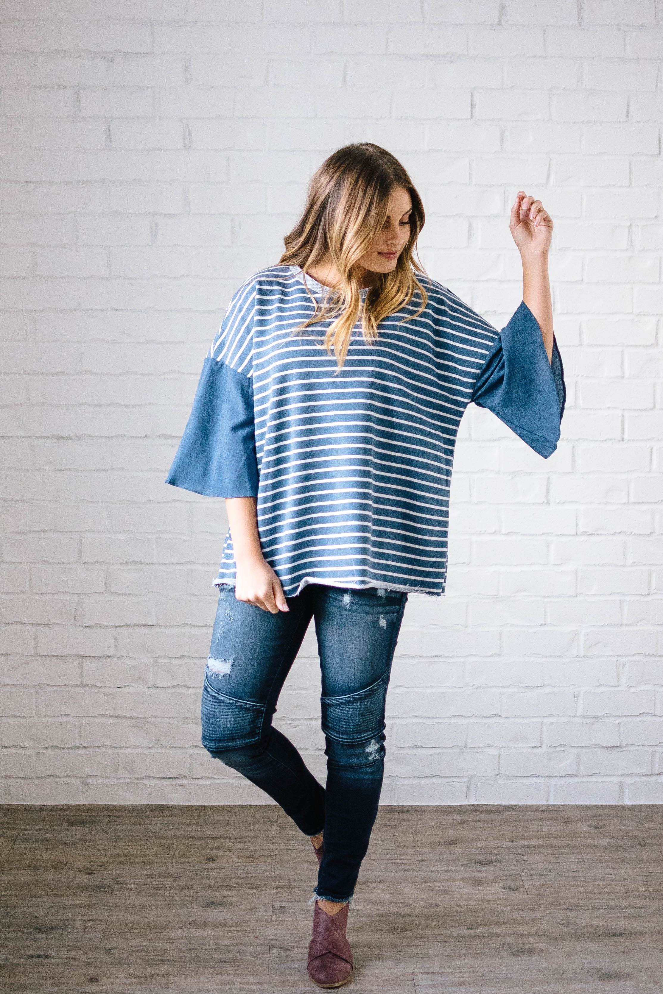 Blakely Bell Striped Top in Denim Blue