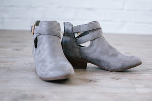 Buckle Booties in Grey Suede