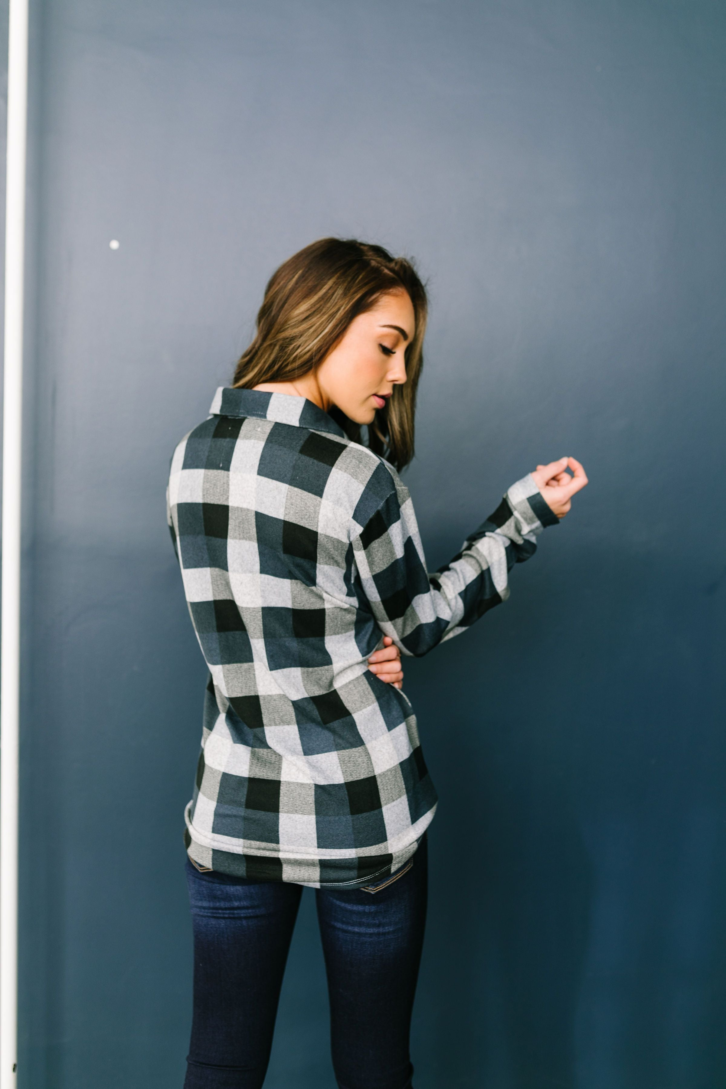 Checkered Past Button-Down Tie Front Top