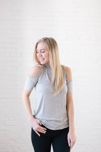 Cold Shoulders in Heather Gray