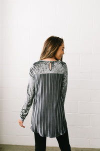 Crushing It Velvet Pleated Back Top In Charcoal