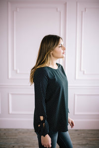 Dot Me Blouse in Black