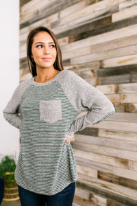 Elbows On The Table Raglan Tee In Olive And Gray - ALL SALES FINAL