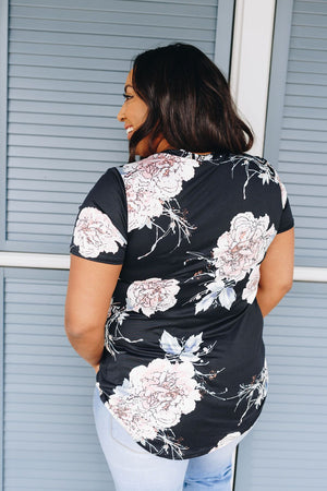 Floral Print V-Neck In Black