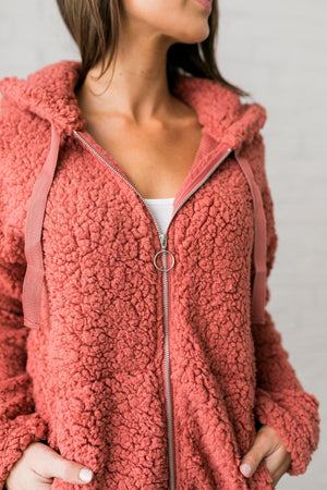 It's So Fluffy Sherpa Hoodie In Auburn - ALL SALES FINAL