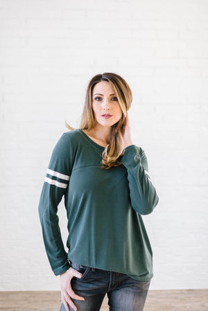 Janie Stripes Long Sleeve Tee in Hunter Green
