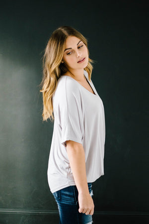Knot Me V-Neck Tee in Gray