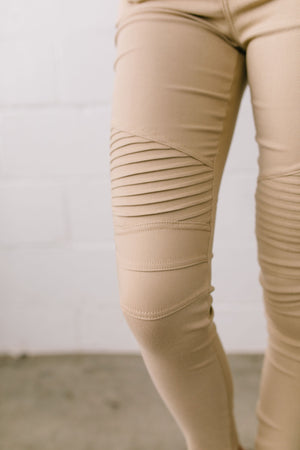 Marvelous Moto Jeggings In Sand - ALL SALES FINAL