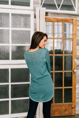 Maximum Exposure Ribbed Contrast Hem In Teal - ALL SALES FINAL