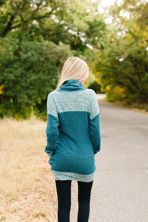 Mix Things Up Turtleneck in Teal